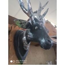 Голова оленя на стену 23х40 см Black and Silver дерево албезия